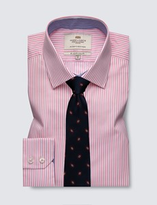 Men's Formal Pink & White Bengal Stripe Slim Fit Shirt With Contrast Detail and Single Cuffs - Easy Iron