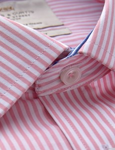 Men's Dress Pink & White Bengal Stripe Slim Fit Shirt With Contrast Detail and Single Cuffs - Easy Iron