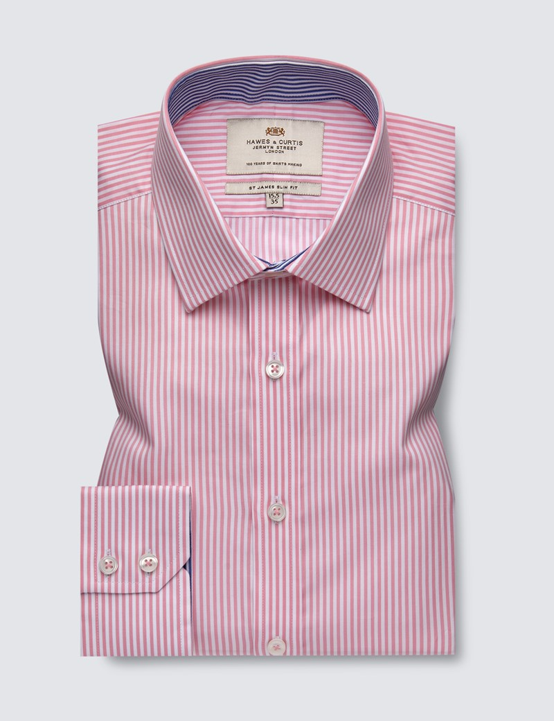 Men's Business Pink & White Bengal Stripe Slim Fit Shirt With Contrast Detail and Single Cuffs - Easy Iron