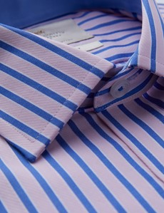 Men's Formal Pink & Blue Multi Stripe Slim Fit Shirt With Contrast Detail - Single Cuff - Easy Iron
