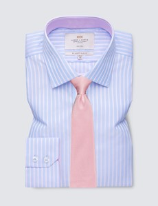 Men's Business Blue & Pink Stripe Slim Fit Shirt with Contrast Detail - Single Cuff - Non Iron
