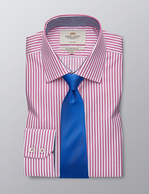 Men's Dress Fuchsia & White Bi Coloured Stripe Slim Fit Shirt - Single Cuff - Non Iron