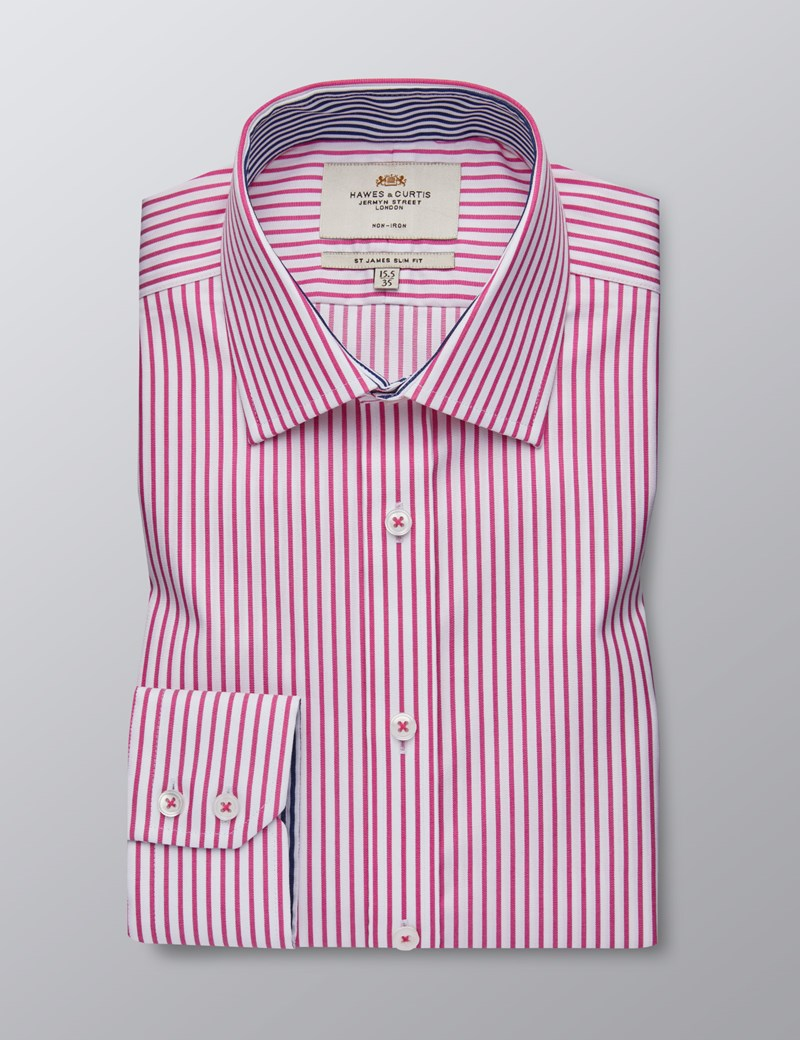 Men's Business Fuchsia & White Bi Coloured Stripe Slim Fit Shirt - Single Cuff - Non Iron