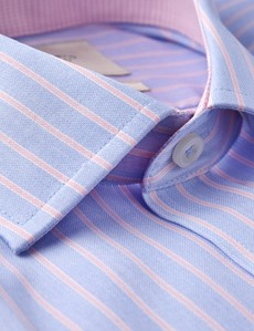 Men's Business Pink & Blue Stripe Slim Fit Shirt - Single Cuff - Non Iron