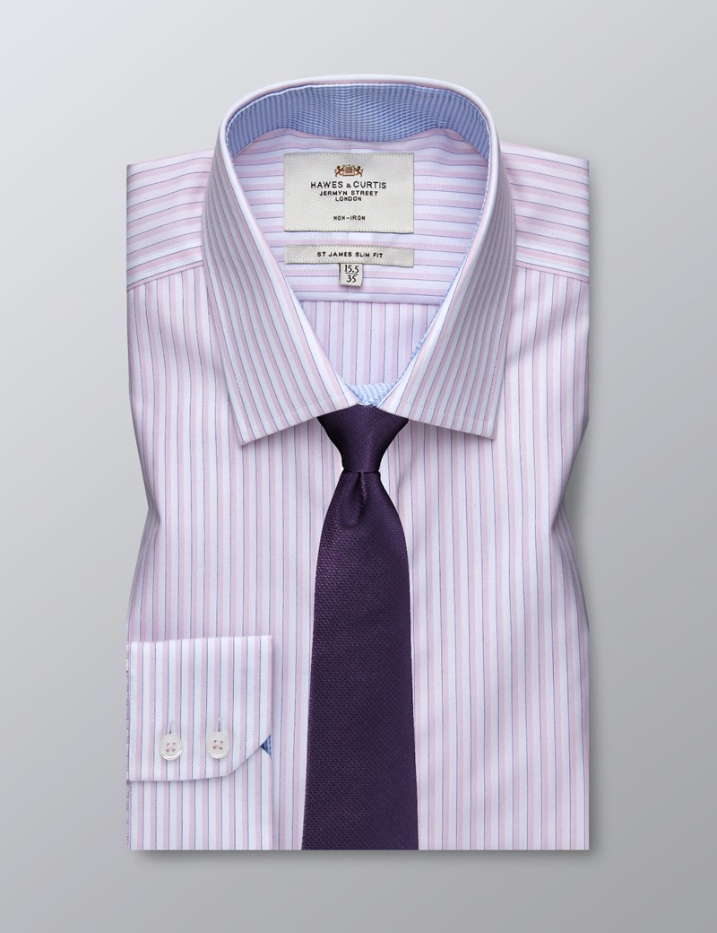Men's Dress Pink & White Tonal Stripe Slim Fit Shirt - Single Cuff - Non Iron