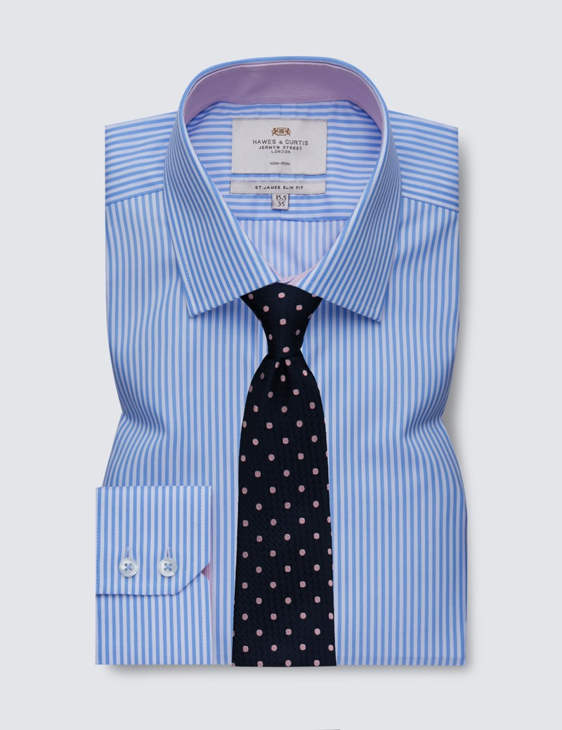 Men's Dress Blue & White Bengal Stripe Slim Fit Shirt with Contrast Detail - Single Cuff - Non Iron