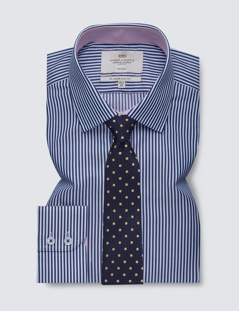 Men's Dress Navy & White Bengal Stripe Slim Fit Shirt with Contrast Detail - Single Cuff - Non Iron
