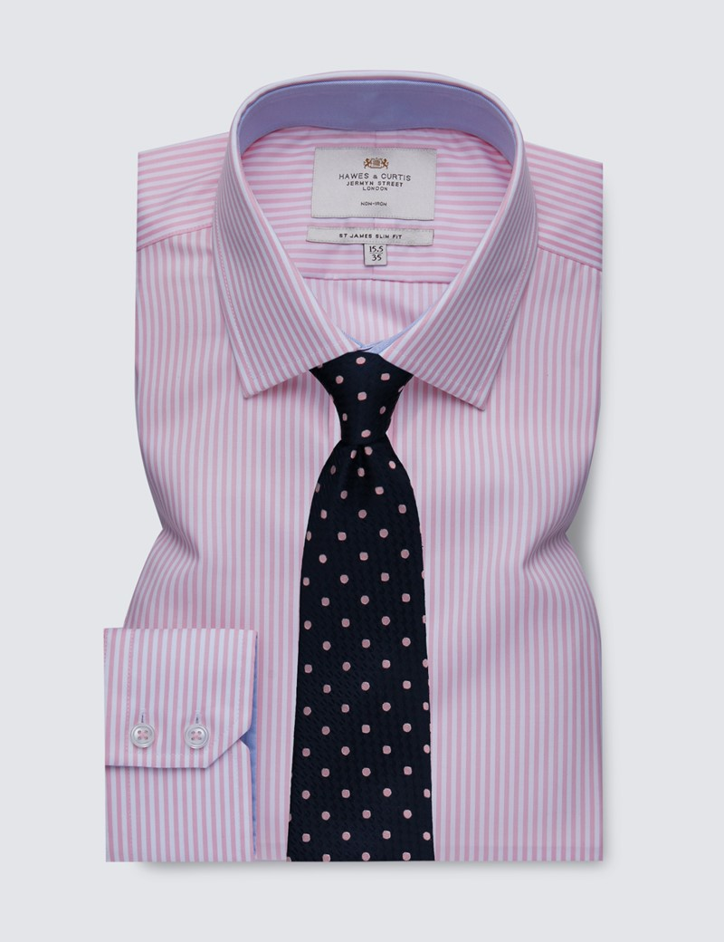 Men's Dress Pink & White Bengal Stripe Slim Fit Shirt with Contrast Detail - Single Cuff - Non Iron