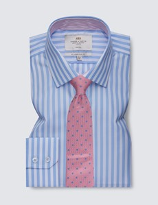 Men's Business Blue & White Bold Stripe Slim Fit Shirt with Contrast Detail - Single Cuff - Non Iron