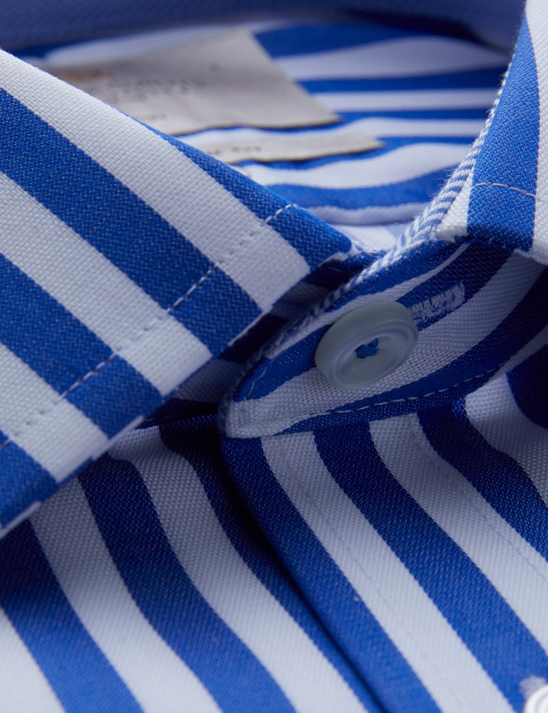 Men's Dress Royal & White Bold Stripe Slim Fit Shirt with Contrast Detail - Single Cuff - Non Iron
