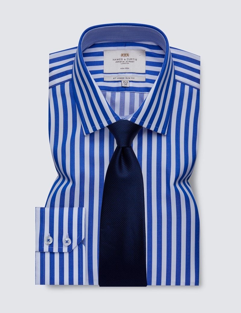 Men's Business Royal & White Bold Stripe Slim Fit Shirt with Contrast Detail - Single Cuff - Non Iron