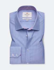 Bügelfreies Businesshemd – Slim Fit – Kentkragen – navy weiß feine Streifen