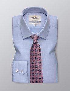 Men's Dress Blue Dobby Slim Fit Shirt With Contrast Detail - Single Cuff - Easy Iron