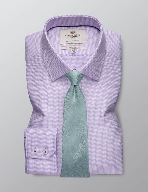 Men's Dress Lilac Dobby Slim Fit Shirt With Contrast Detail - Single Cuff - Easy Iron