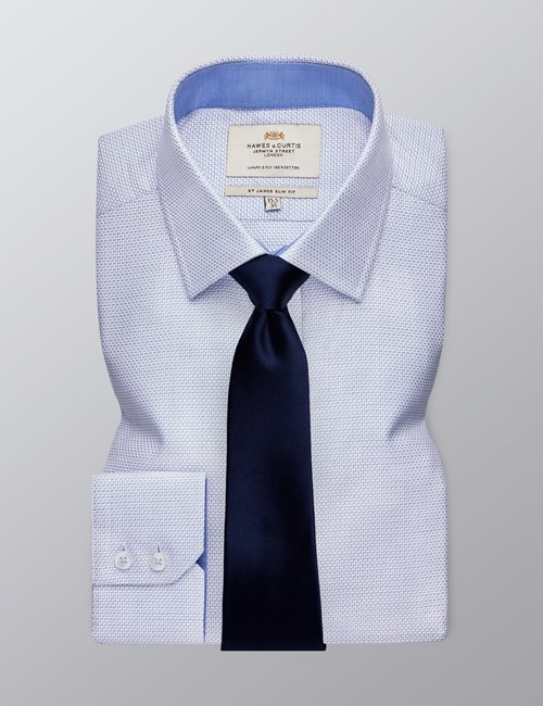 Men's Formal White & Navy Textured Slim Fit Shirt - Single Cuff - Easy Iron