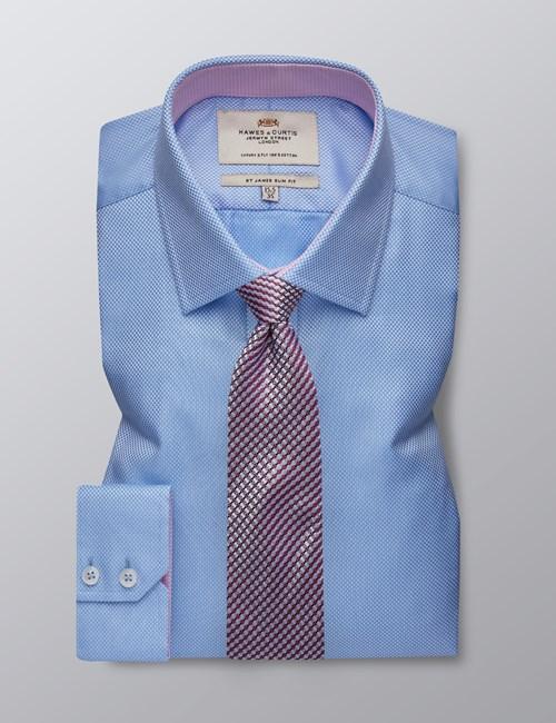 Businesshemd – Slim Fit – Kentkragen –  Weiß & blau gemustert