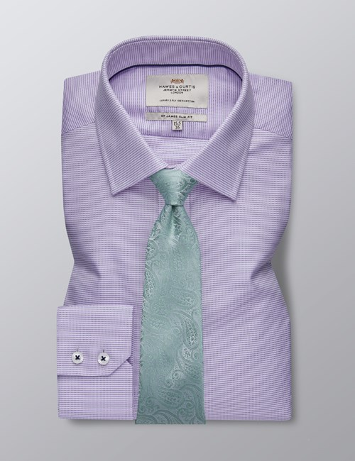 Men's Formal Lilac & White Hopsack Weave Slim Fit Shirt - Single Cuff - Easy Iron