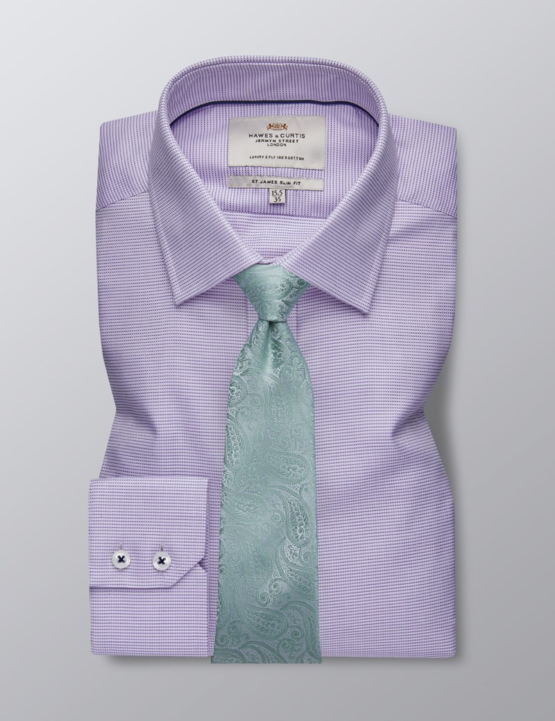 Men's Business Lilac & White Hopsack Weave Slim Fit Shirt - Single Cuff - Easy Iron