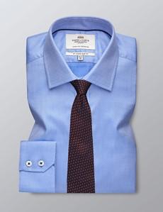 Men's Dress Blue & White Textured Dobby Slim Fit Shirt - Single Cuff - Easy Iron