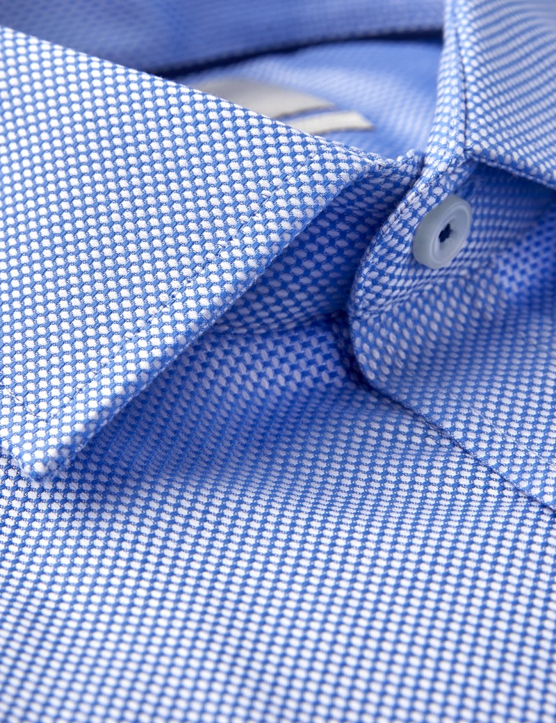 Men's Business Blue & White Textured Dobby Slim Fit Shirt - Single Cuff - Easy Iron