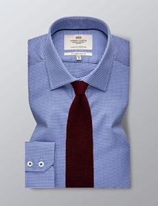 Men's Business Blue Slim Fit Shirt - Single Cuff - Easy Iron