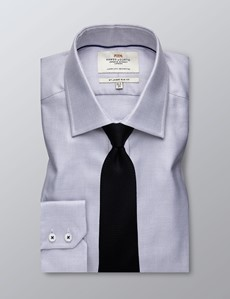 Men's Business Grey & White Fabric Interest Slim Fit Shirt - Single Cuff - Easy Iron