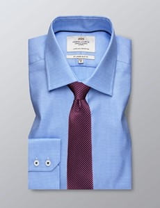 Men's Formal Blue & White Star Weave Slim Fit Shirt - Single Cuff - Easy Iron