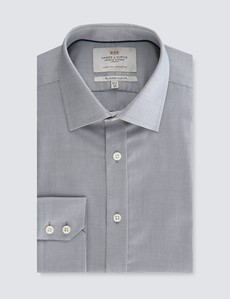 Men's Dress Grey Weekender Dobby Slim Fit Shirt - Single Cuff