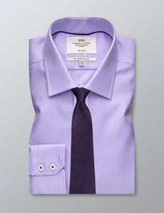 Men's Dress Dobby Lilac Slim Fit Shirt - Single Cuff - Non Iron