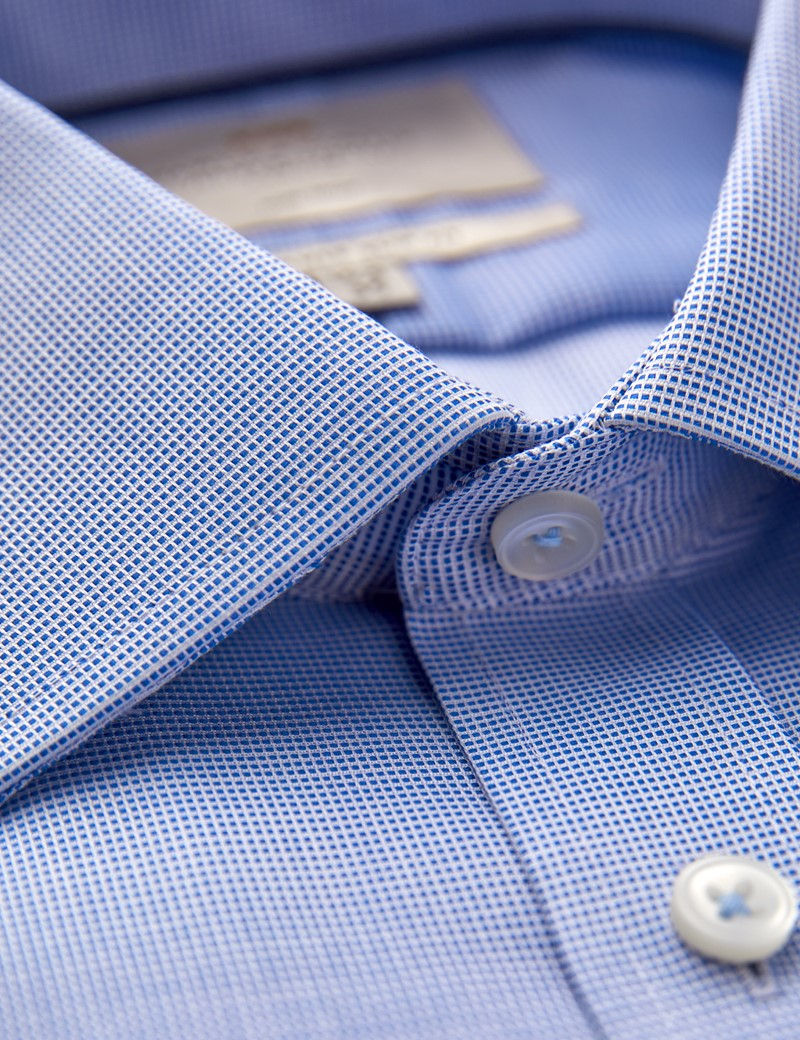 Men's Business Navy and White Fabric Interest Slim Fit Shirt - Single Cuff - Non Iron