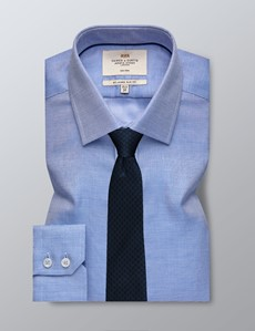 Men's Formal Navy and White Fabric Interest Slim Fit Shirt - Single Cuff - Non Iron