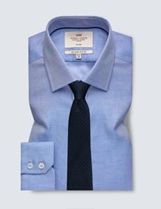 Men's Dress Navy and White Fabric Interest Slim Fit Shirt - Single Cuff - Non Iron