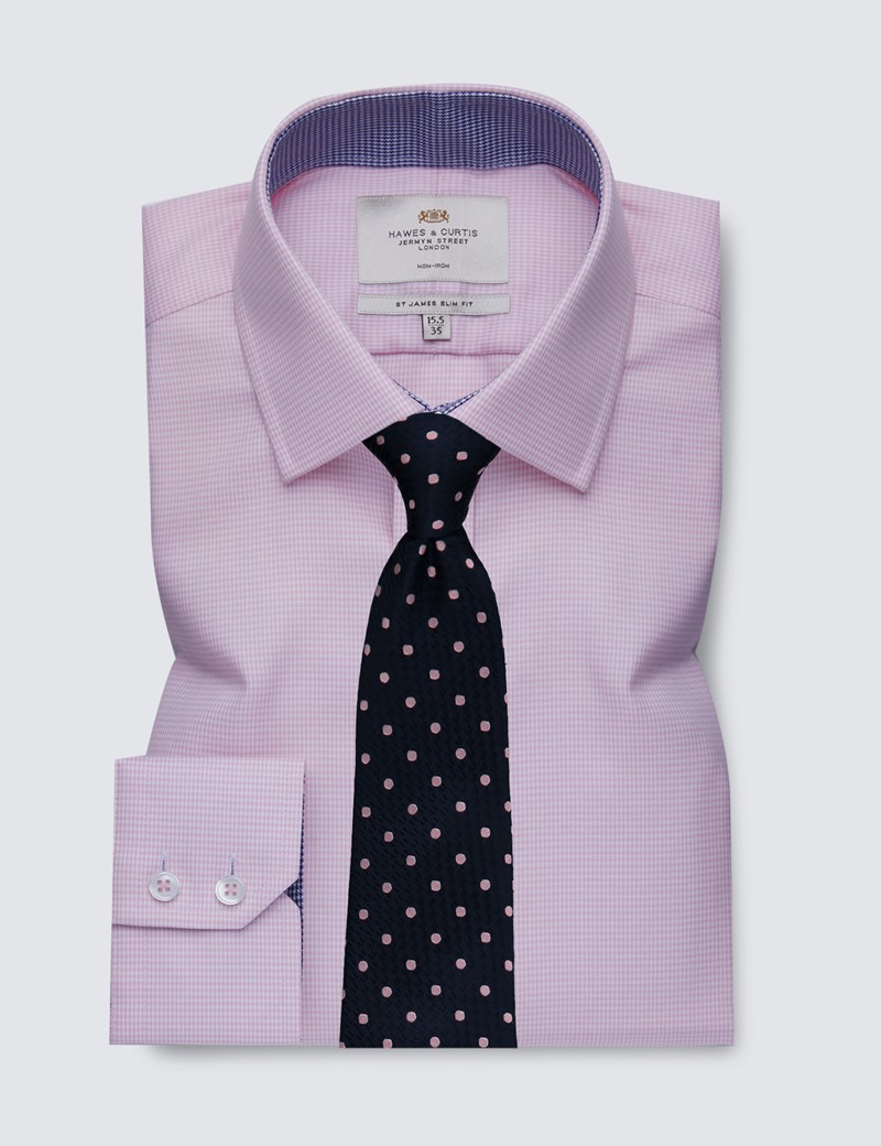 Men's Dress Pink & White Dogstooth Slim Fit Shirt with Contrast Detail - Single Cuff - Non Iron
