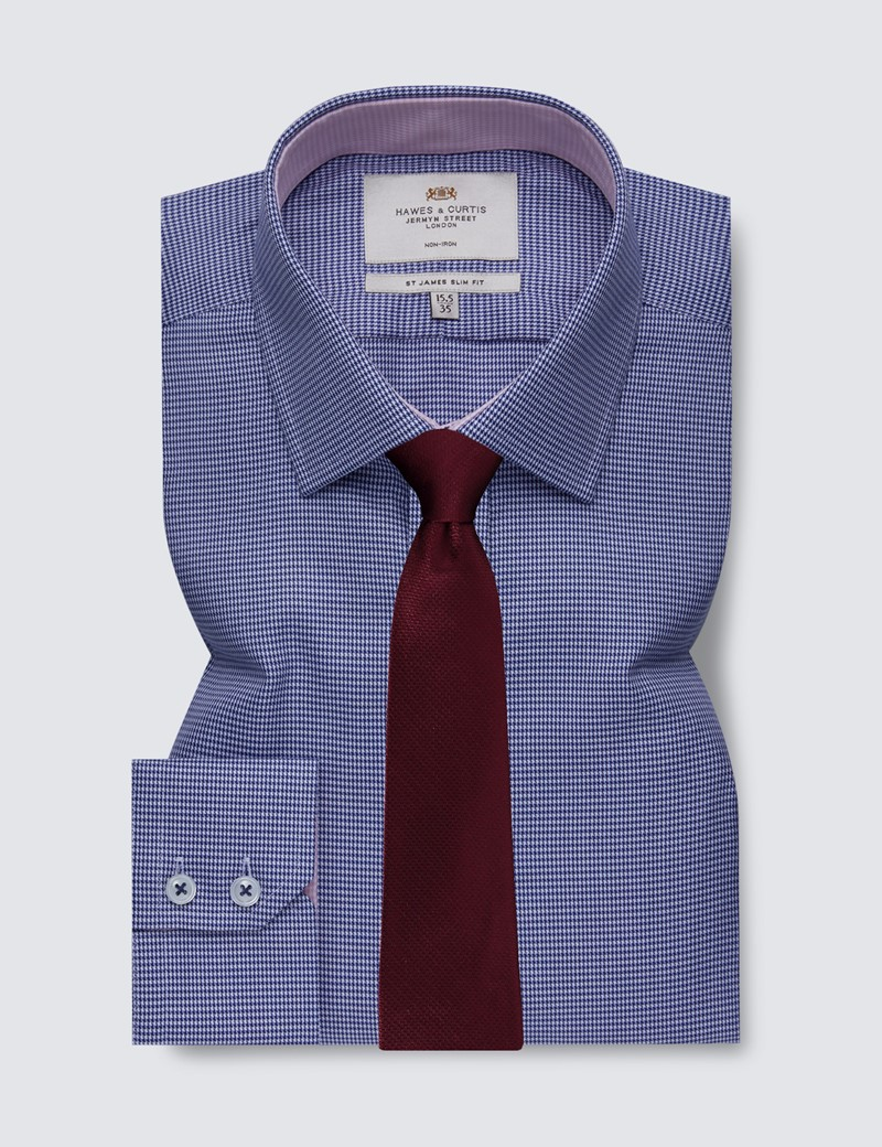 Men's Formal Navy & White Dogstooth Slim Fit Shirt with Contrast Detail - Single Cuff - Non Iron