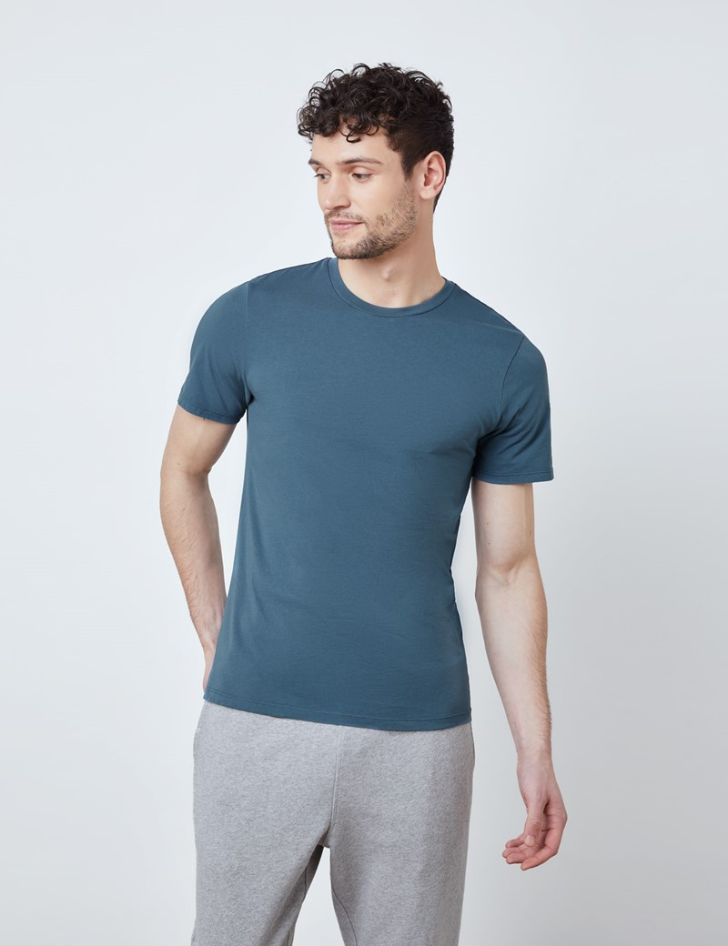 Airforce Blue Garment Dye Organic Cotton T-Shirt