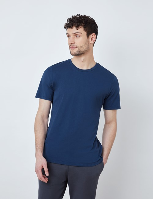 Dark Blue Garment Dye Organic Cotton T-Shirt