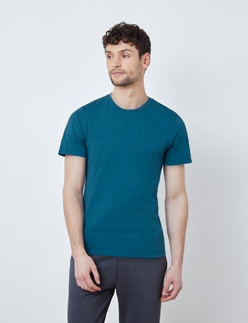 T-Shirt – Rundhals-Ausschnitt – Garment Dye – Bio-Baumwolle – Petrol