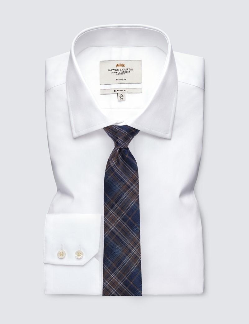 Men's Navy & Brown Check Tie - 81% Silk & 19% Cotton