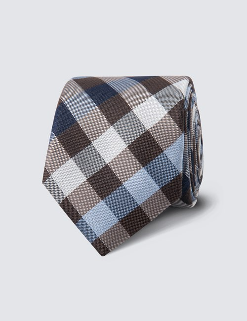 Men's Brown & Blue Multi Check Tie - 100% Silk