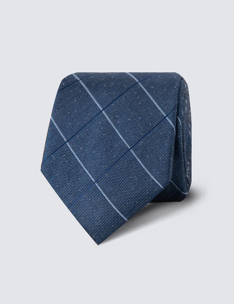 Krawatte – Seide – Schmal – Karo blau