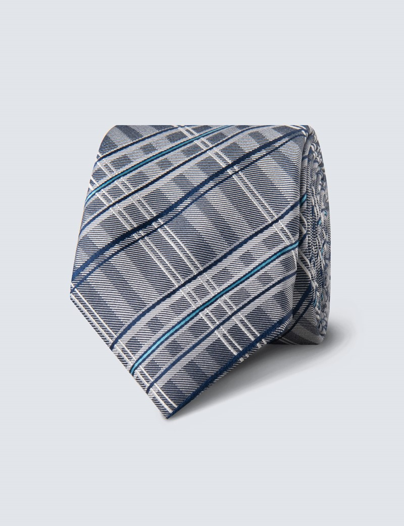 Men's Blue & white Double Plaid Tie - 100% Silk