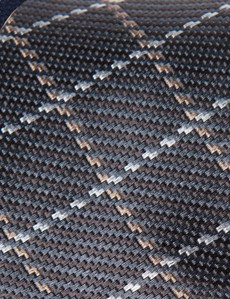 Men's Grey Cross Checks Tie - 100% Silk