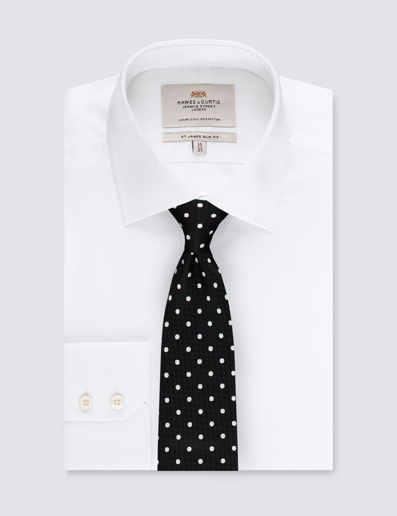 Men's Black & White Even Spot Tie - 100% Silk
