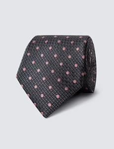 Men's Grey & Pink Even Spot Tie - 100% Silk