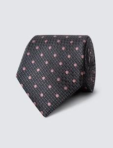 Krawatte – Seide – Standardbreite – Grau mit Tupfen pink