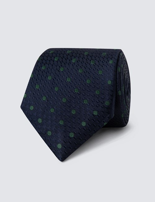 Men's Navy & Green Even Spot Tie - 100% Silk