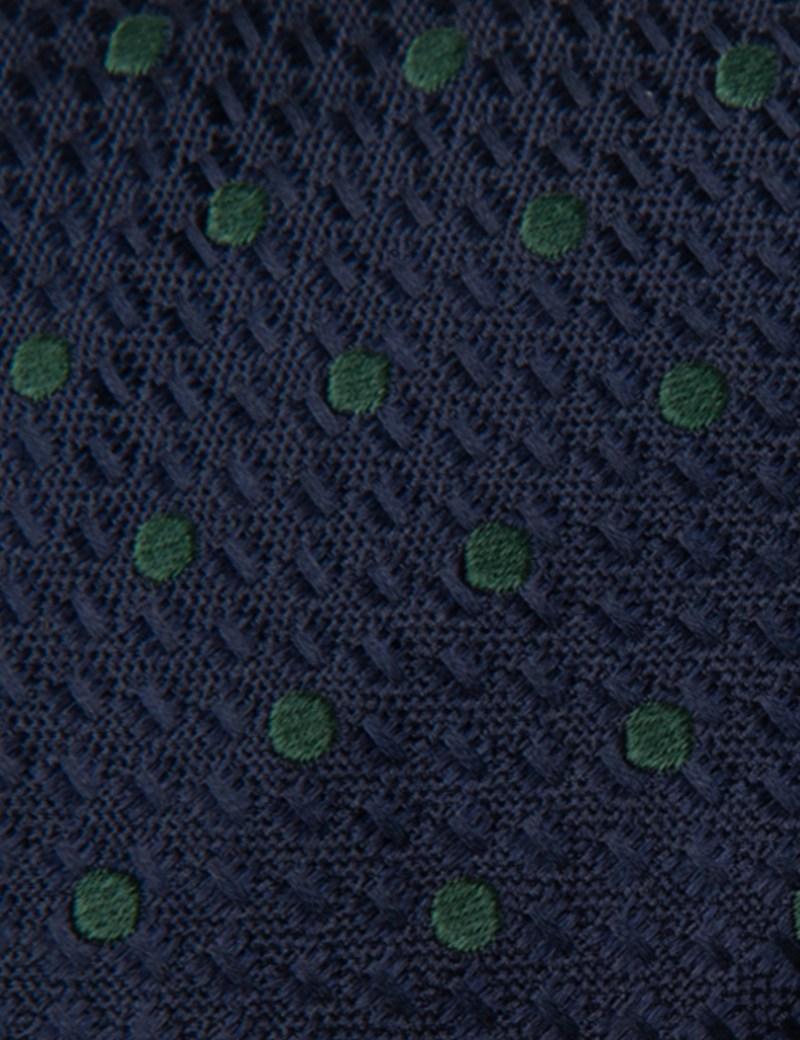 Men's Navy & Green Even Spot Tie - 100% Silk