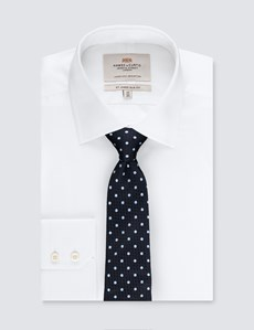 Men's Navy & Light Blue Even Spot Tie - 100% Silk