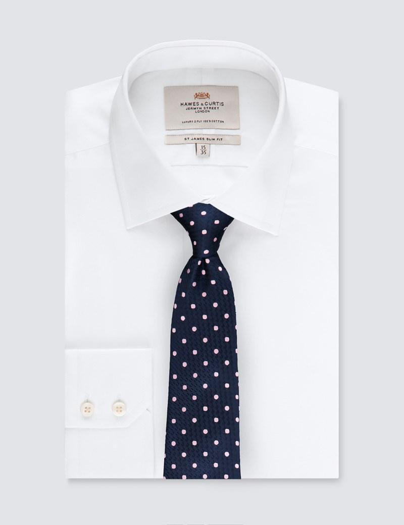 Krawatte – Seide – Standardbreite – Marine mit Tupfen hellpink
