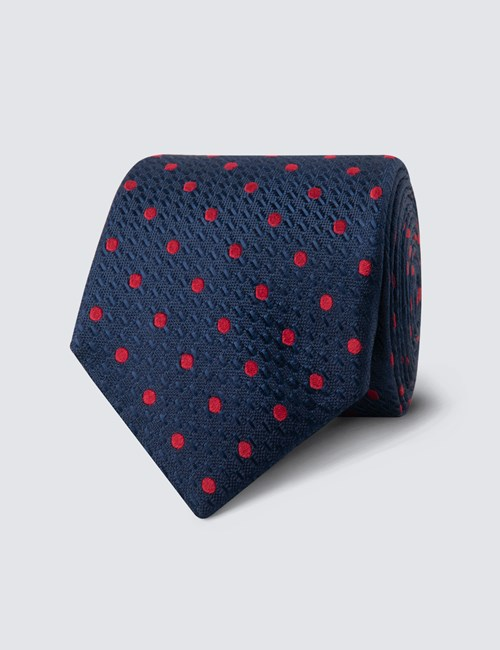 Krawatte – Seide – Standardbreite – Marine mit Tupfen rot